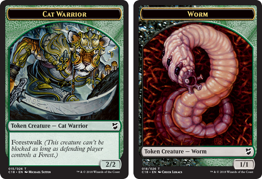 Ficha doble de Gusano-Guerrero Felino // Worm-Cat Warrior Token